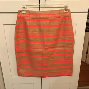 J Crew Pencil Skirt with Neon Pink Stripes